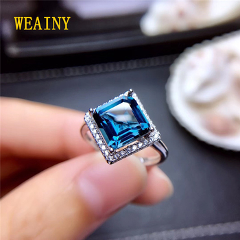 WEAINY 8*8mm Princess Cut Natural London Blue Topaz Ring S925 Sterling Silver Simple Fashion Ladies Jewelry Send Girlfriend Gift