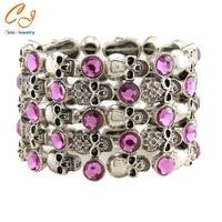 Skull Skeleton Stretch Bracelet For Women Biker Bling Jewelry Antique Gold Silver Plated W Crystal Wholesale