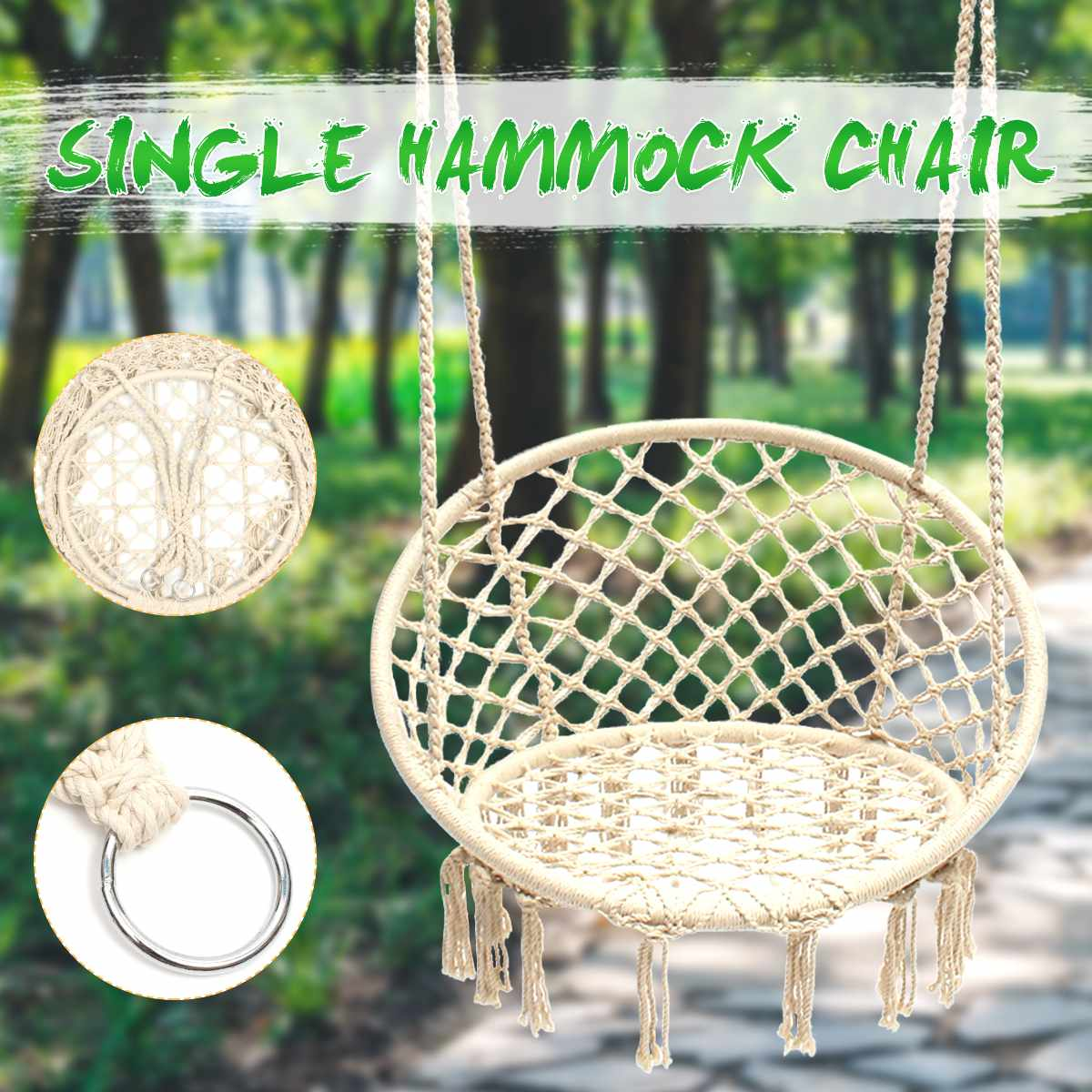 Hanging Hammock Chair Safe Swing Chair Hanging Kit Beige