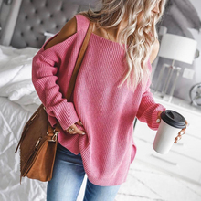Winter Women's Sweaters 2019 Pink Knitting Off Shoulder Loose Solid Pullover Long Sleeves Large Size Sweaters For Female Jumper