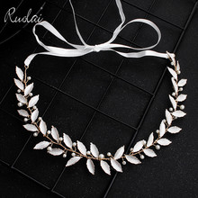 Metal Fashion Wedding Headband Pearls Beaded Bridal Hair Accessories Headpiece Leaves Jewelry Headbands HD23