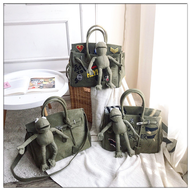 5c4bb23169 Canvas Military Navy Green Lock Platinum Tote bag Portable Graffiti Diy  Messenger Bag Frog Ladies  Hand Bag Female Shoulder Bag