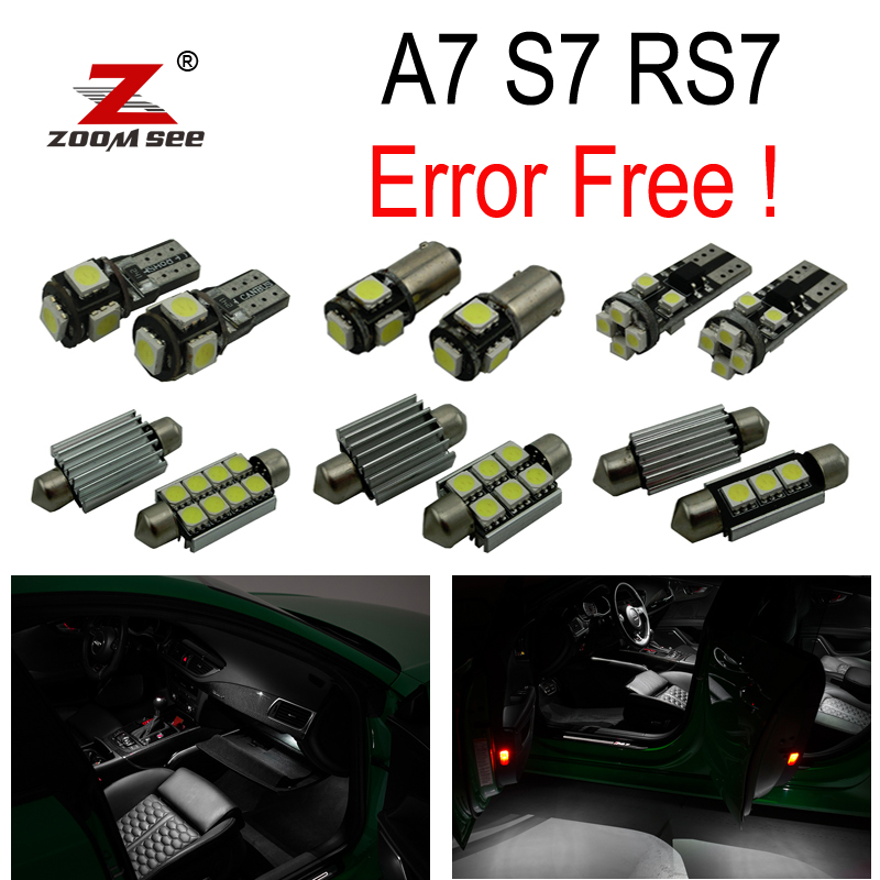 18pc X canbus No Error LED Bulb Interior Dome Reading Light Kit Package for Audi A7 S7 RS7 C7 Quattro (2011-2017) 18pc canbus error free reading led bulb interior dome light kit package for audi a7 s7 rs7 sportback 2012
