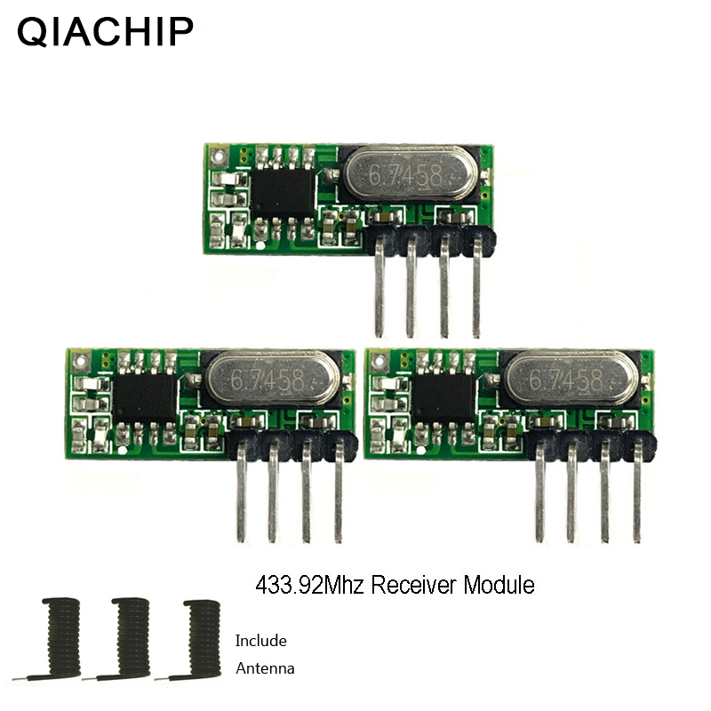 QIACHIP 3pcs 433 mhz RF Receiver Superheterodyne UHF ASK 433Mhz Remote Control Module Kit Small Size Low Power For Arduino Uno