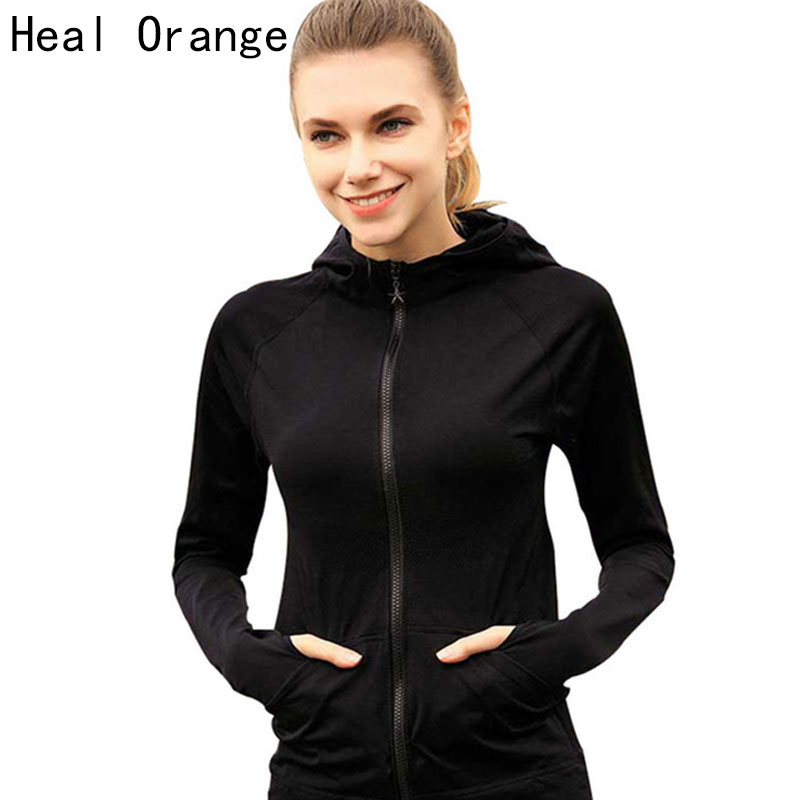 HEAL ORANGE Women Sport Jackets Zipper Hooded Running Coat ...