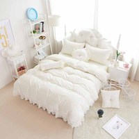 Princess Bedclothes 100 Cotton Bedding Set Bed Skirt Style Home Textile Bed Set Duvet Cover Set