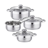 Velaze Cookware Set Stainless Steel 7 Piece Kitchen Cooking Pot&Pan Sets,Induction Saucepan,Casserole with Tempered Glass lid