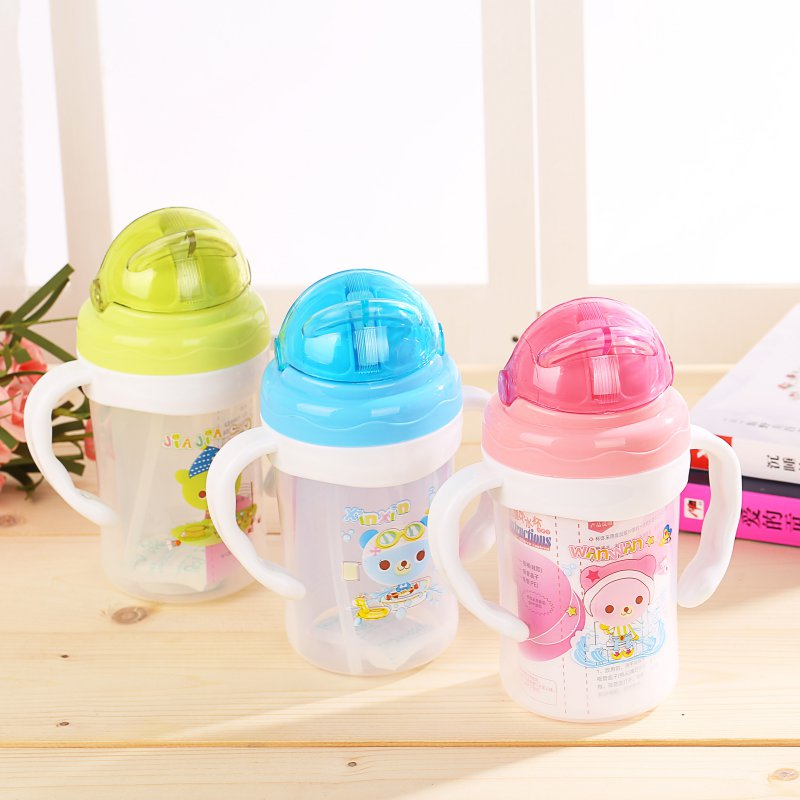 Lovely Cartoon Baby Feeding PP Plastic Bottle Straw Cup Drinking Bottle Sippy Cups With Handles 240ml
