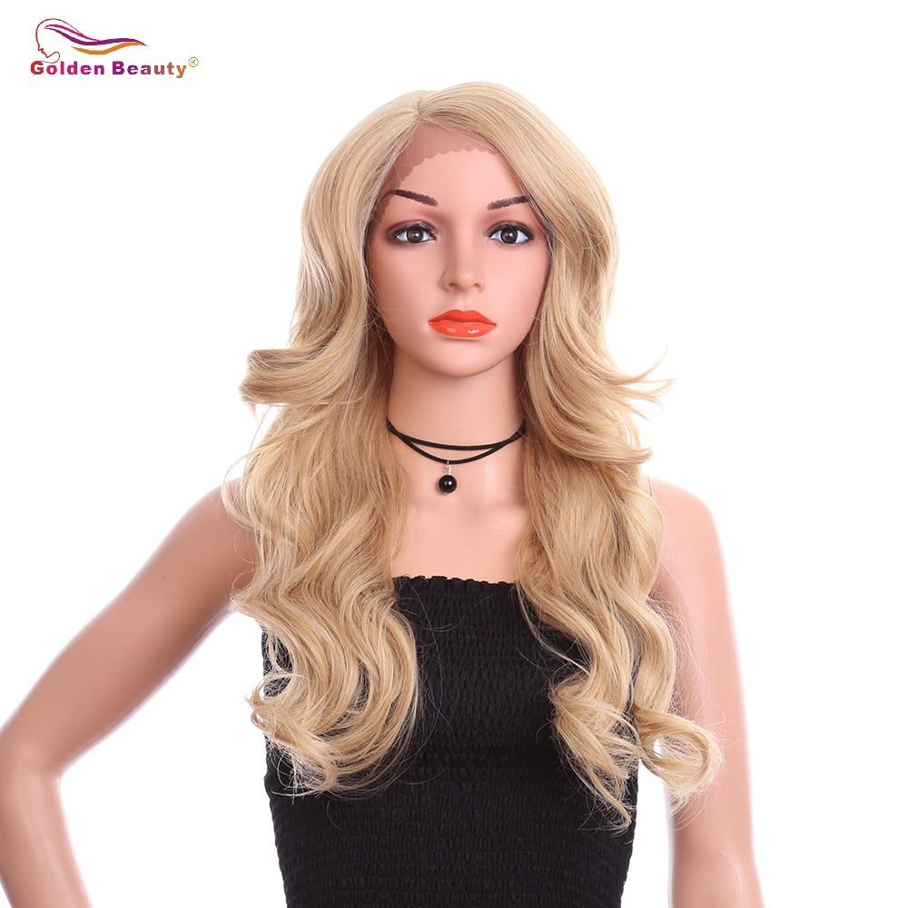 24 polegada Ondulado Rendas Sintético Peruca Dianteira Com Fibra de Alta Temperatura Para As Mulheres Negras Perucas Cosplay Beleza Dourada