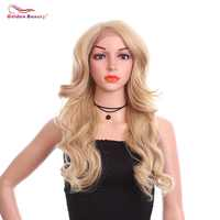 24inch Wavy Synthetic Lace Front Wig With High Temperature Fiber For Black Women Cosplay Wigs Golden Beauty