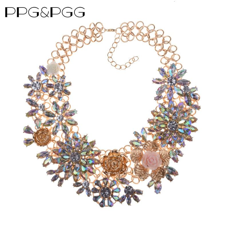 PPG&PGG Costume Jewelry Trendy Choker Statement Necklace Rhinestone Flower Women Heavy Maxi Necklace