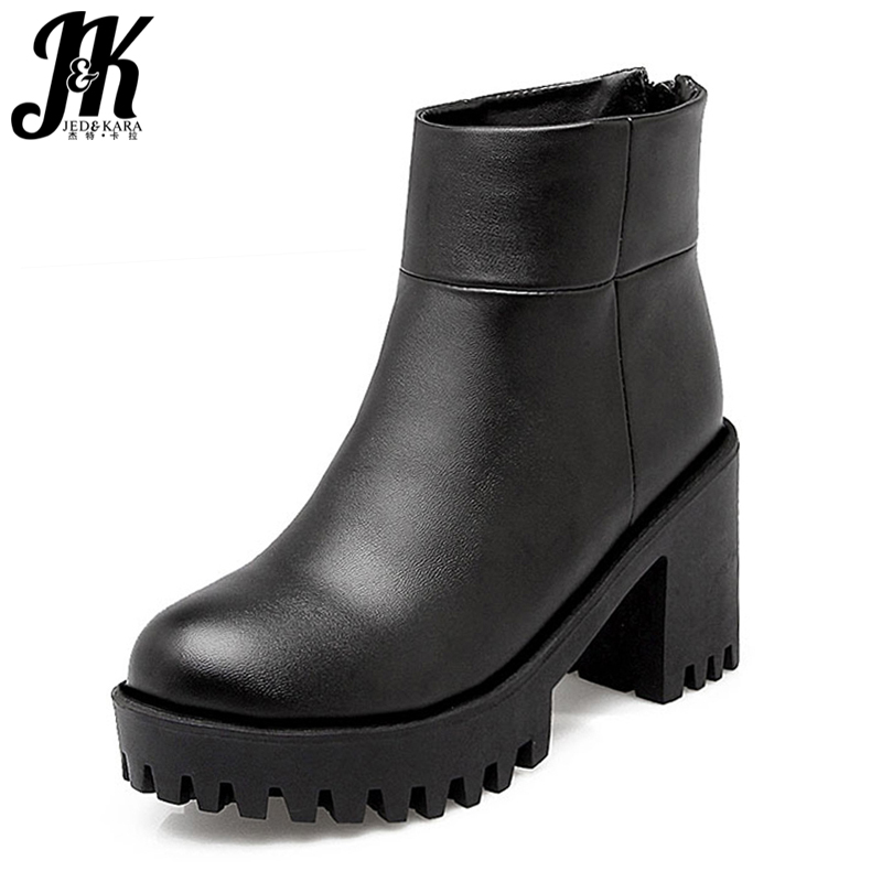 Big Size 34-43 Lady's Ankle Boots Women Add Fur Fall Winter Boots Platform Square High Heels Rubber Sole Shoes Woman wetkiss big size 34 43 fashion lace up platform knee boots add fur retro thick high heels skid proof fall winter shoes woman