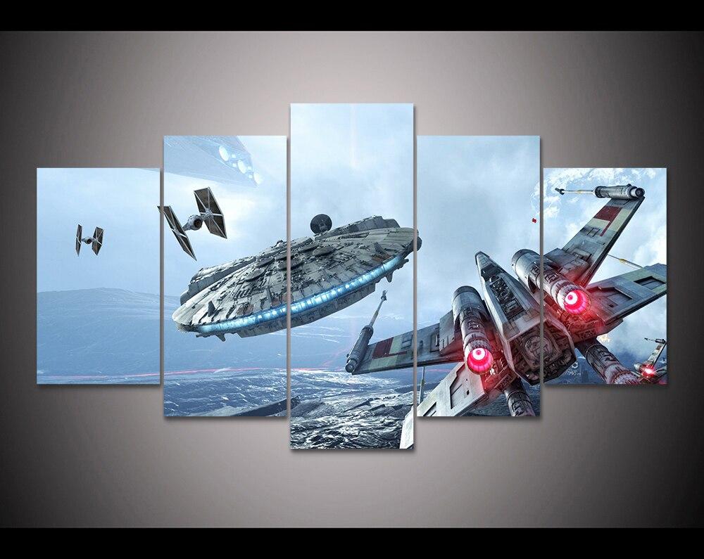 Modern Canvas Wall Art online shop hd print 5 pieces canvas wall art millennium falcon x
