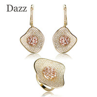 Dazz Luxury Cubic Zirconia Wedding Leaves Women Earrings Rings Set Gold Color Unique Flower Bridal Jewelry Sets For Bridesmaids