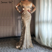 Sexy Sheer Long Sleeve Gold Tassel Mermaid Evening Dresses 2018 New Arrival Beaded Sequins Dubai Robe De Soiree BLA6467