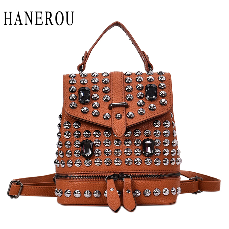 HANEROU Fashion Backpack Rivet Bag Diamonds Bagpack Rock Cool Women Shoulder Bag Packs High Quality Moto & Biker Bags Mochila