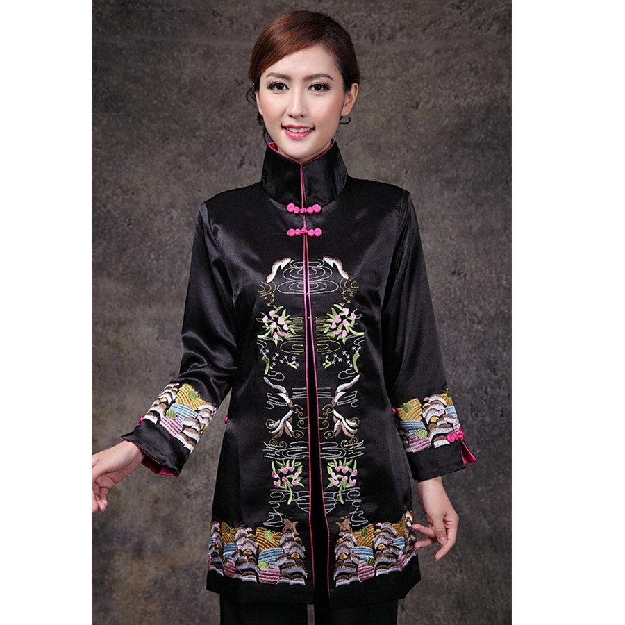 Black Chinese Women's Satin Long Sleeve Jacket Classic Style V Neck Tang Suit Embroidery Single Breasted Coat Size S TO 3XL