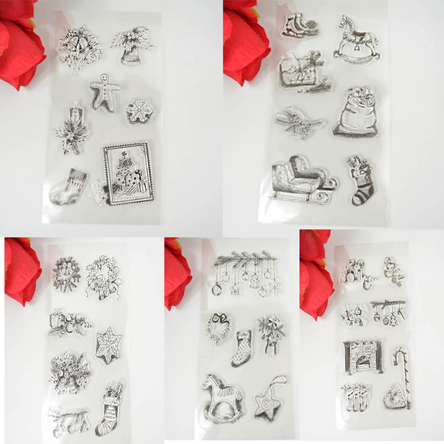 1PCS LOT Eco Friendly Silicone Transparent Stamp Christmas Elements DIY Scrapbooking Card