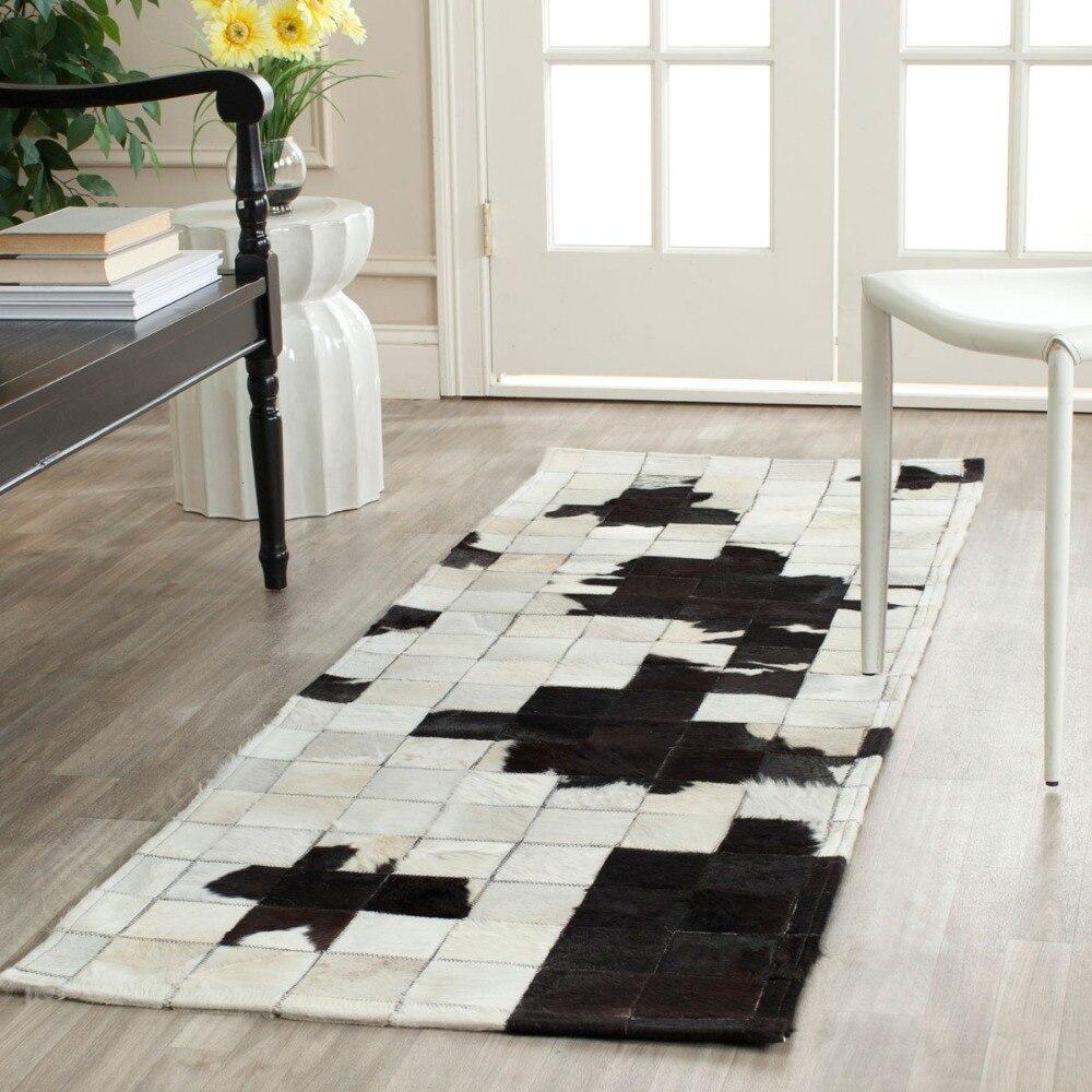 Ivory / Black Patchwork Cowhide Rug Decor For Bedroom/Dining Room ...