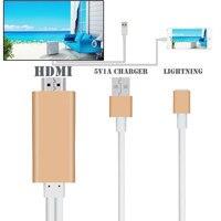 AHHROOU חדש 2 M Plug & Play HD 1080 P 8 פין לכבל HDMI HDTV AV מתאם עבור iPhone 7 7 תוספת 6 6 s בתוספת iPhone 5 5S SE עבור iPad