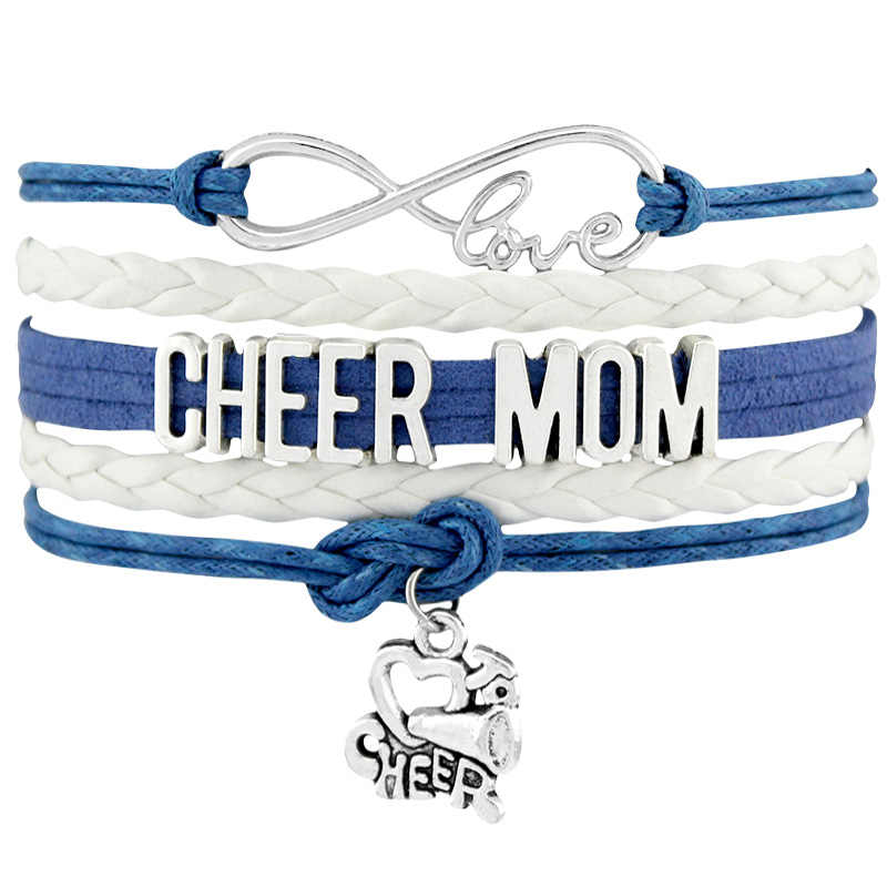 Infinity Love Cheer Mom Charms pulseras y brazaletes Love To Cheer pulseras para Mujeres Hombres regalo Drop Shipping