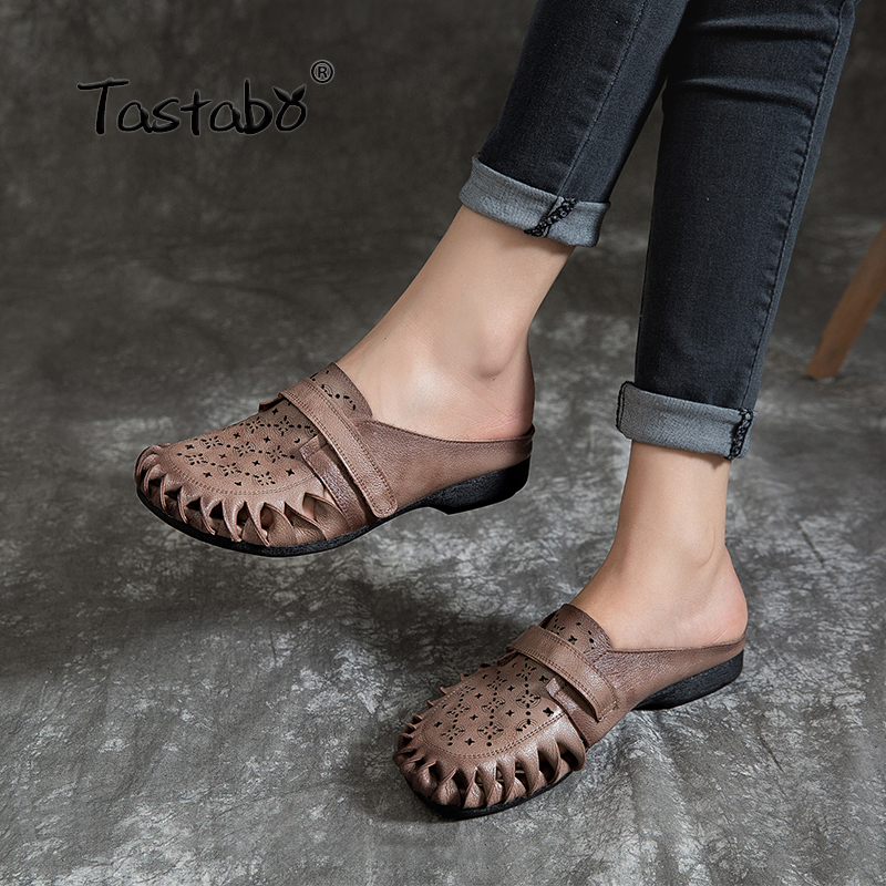 Tastabo Outdoor Hollow Slippers Genuine Leather Shoes Handmade Slides Casual Comfortable Simple Low heel slippers Wear