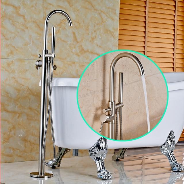 Floor Mounted Solid Brass Single Handle Bathroom Tub Faucet
