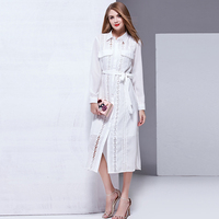 Shirt Dresses 2017 New Summer Fashion Long Sleeve Hollow Out With Belt White Casual Split Woman