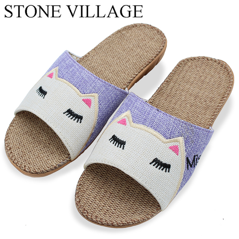 Animal Prints Home Slippers Summer Women Slippers Linen Indoor Shoes Non-Slip Breathable Slippers Home Female Cool Sandals sk ii sk ii color