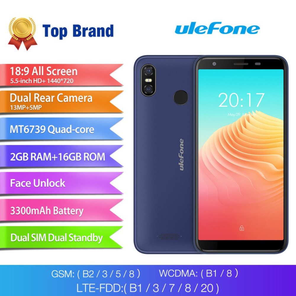 Ulefone S9 Pro 5.5 inch HD+ Mobile <font><b>Phone</b></font> Android 8.1 MTK6739 Quad Core <font><b>2GB</b></font> <font><b>RAM</b></font> 16GB ROM 13MP+5MP Dual Rear Cameras 4G <font><b>Cell</b></font> <font><b>Phone</b></font>