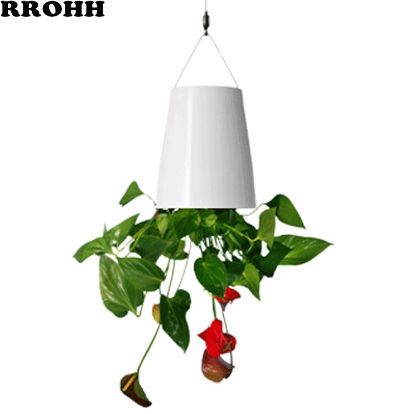 Creative Plant Hanging Inverted Sky Flower Pot Automatic Watering Hanging Upside Down Plastic Family Garden Small Flower Pot
