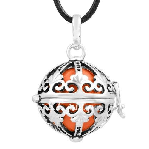 Беременность подарок для ребенка из черненого Медь в форме металлической птичьей клетки кулон ангел абонент Подвески 20 мм Музыкальный шар, гармония Bola кулон Цепочки и ожерелья H119 - Окраска металла: Orange