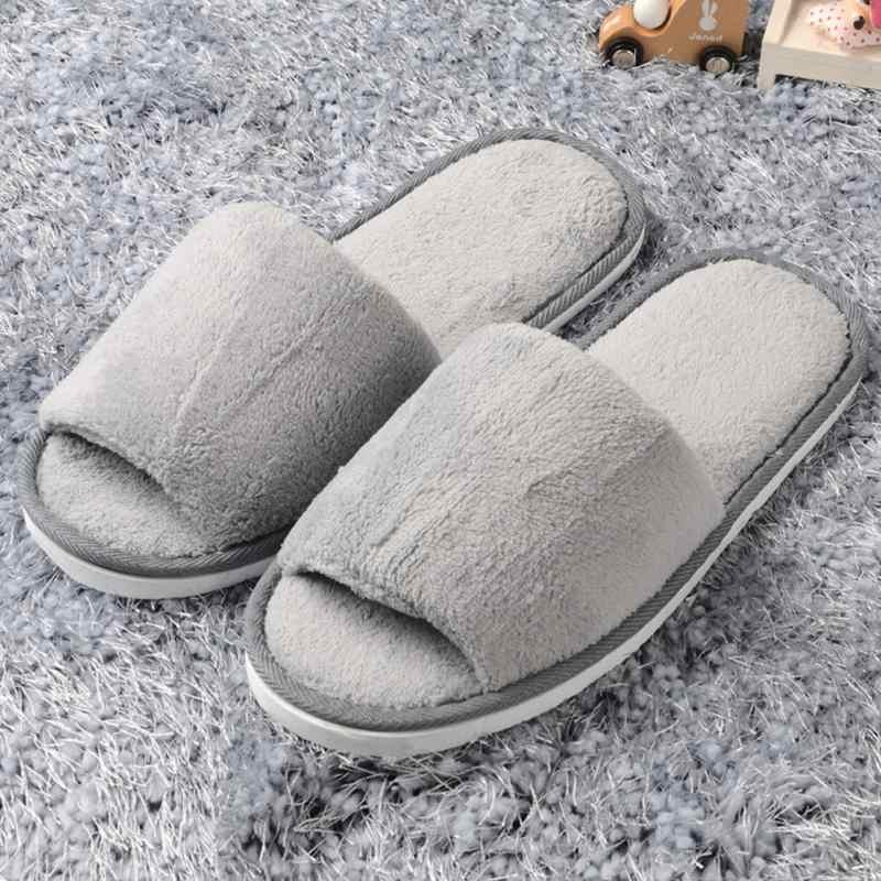 2018 Yeni Kadın Erkek Açık Ağızlı Kış Ev Terlik pazen Sıcak Peep-Toe Terlik Polar Ev Kapalı Severler Ayakkabı