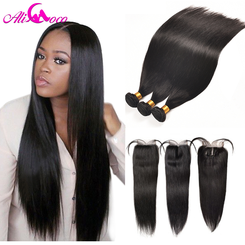 Ali Coco Straight Hair Bundles With Closure Brazilian Hair Weave Bundles With Closure Human Hair Bundles With Closure Non remy