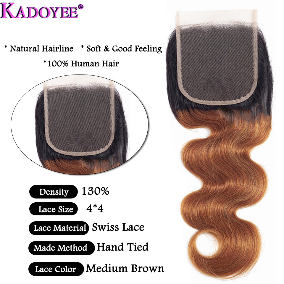 """Image 4 - Ombre Body Wave Human Hair Bundles With Closure 4pcs/lot Brazilian Hair Weave Bundles With Closure Remy Hair Extension 8"""" 26""""-in 3/4 Bundles with Closure from Hair Extensions & Wigs"""