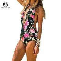 PLAVKY 2017 Retro Sexy Halter Black Floral Trikini Deep V Bathing Suit Monokini High Waist Swimwear