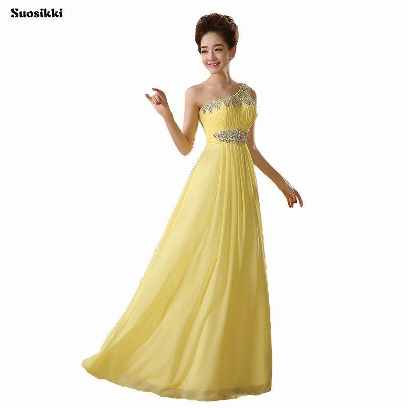 2017 New Elegant One Shouder A Line Crystals Beadings Long Evening Party Dresses Vestido De Festa