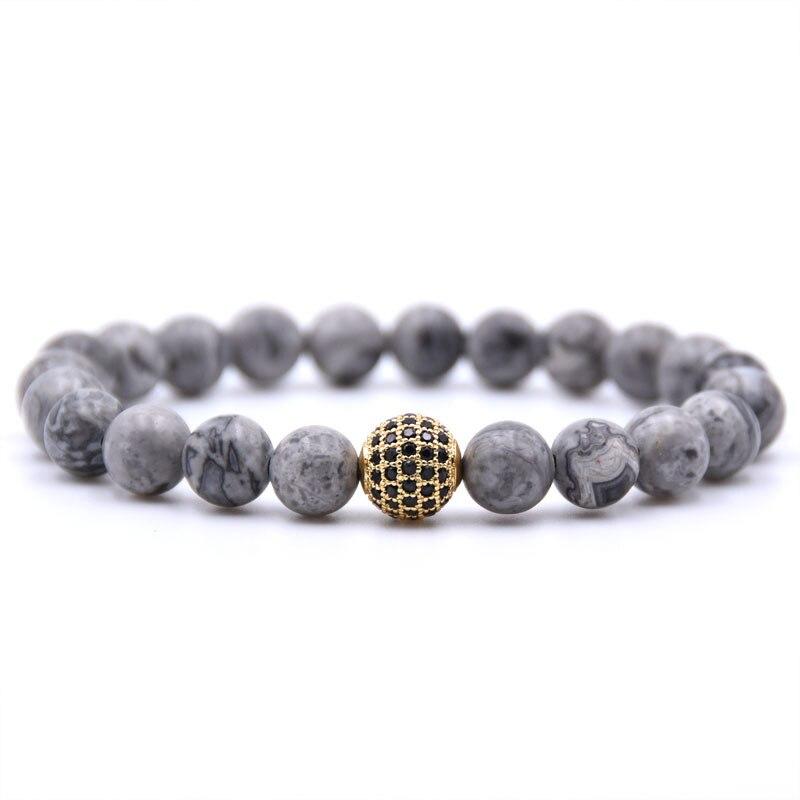Black Ball Charm Bracelet Mat Beads Jewelry CZ Natural Map Stone Energy Stone Man Buddha Jewelry