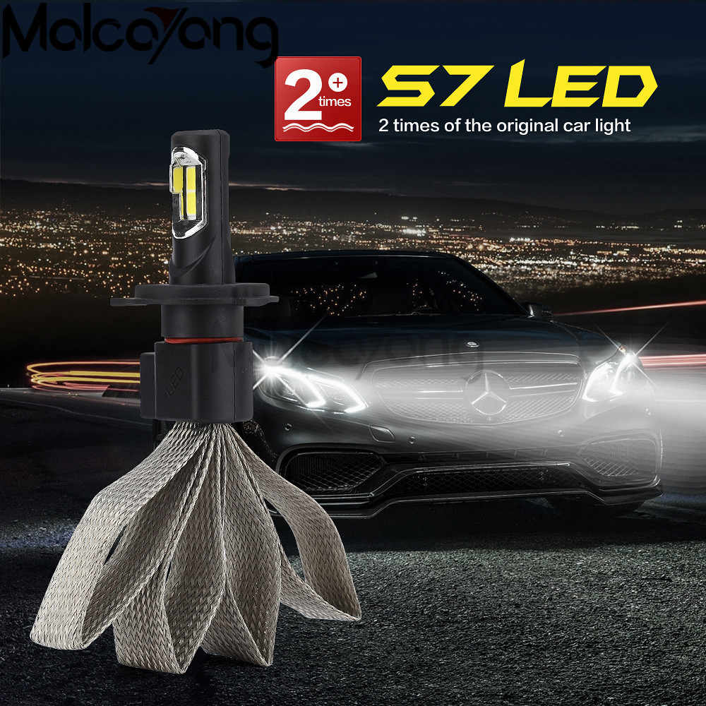 S7 Car LED Headlight Braid Radiating 12000LM/Pair Lamp Auto Bulb Light H1 H3 H27 H7 H11 HB3 HB5 9006/HB4 H4 H13 HB1