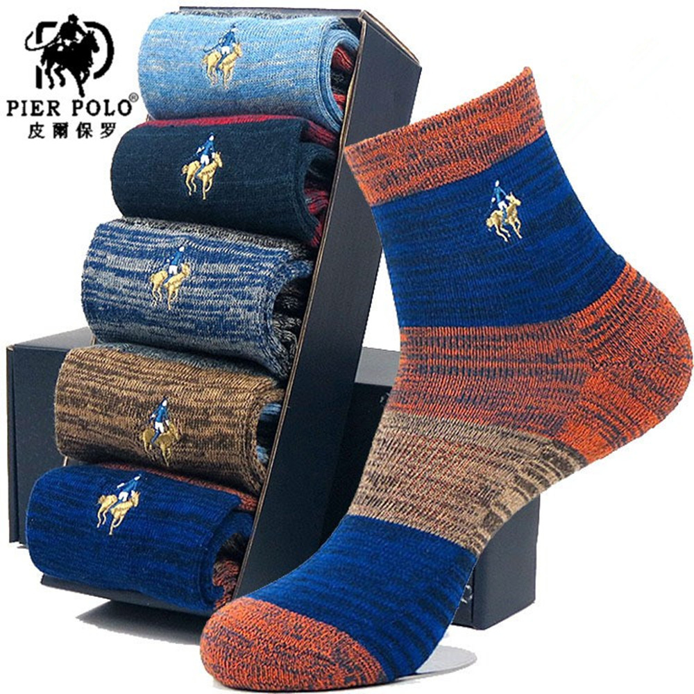 Fashion Stripe Cotton Men Socks 5pcs/lot Breathable Embroidery Brand Socks For Men High Quality