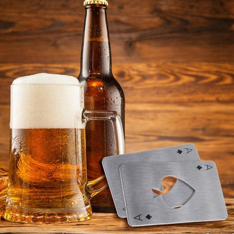 2pcs Stainless Steel Bottle Opener Beer Opener Poker Playing Card of Spades Soda Bottle Cap Opener Bar Tools Kitchen accessories