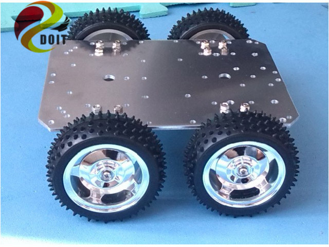 ФОТО Official DOIT Intelligent RC Car Chassis 4WD 25mm Motor 85mm Wheel Aluminum Alloy Robot UNO R3  Raspberry Pi Patrol Kit IR