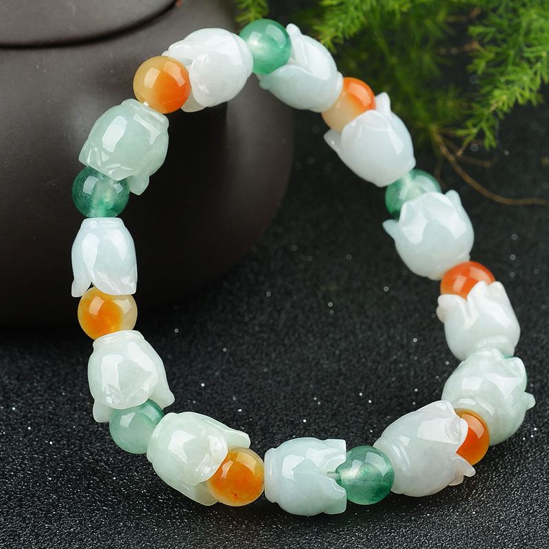 Natural yu flower yu bracelet round beads note: for miscellaneous stone beads / sweet beads layered flower bracelet for women
