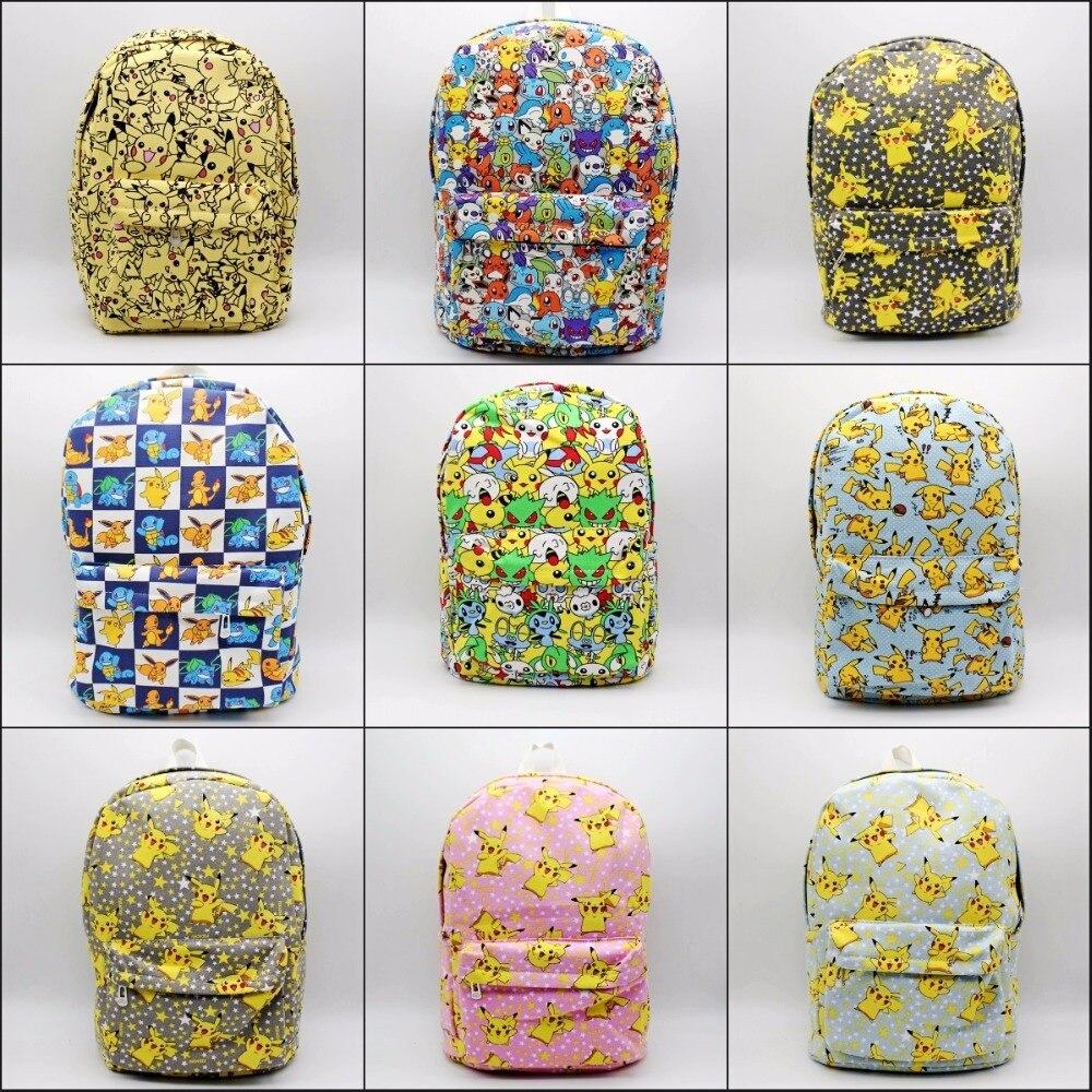 Game cartoon Pokemon Go Backpack Canvas School Bag Teenagers Mochila Shoulder Rucksack Travel Bags Pikachu Schoolbag 9 Styles