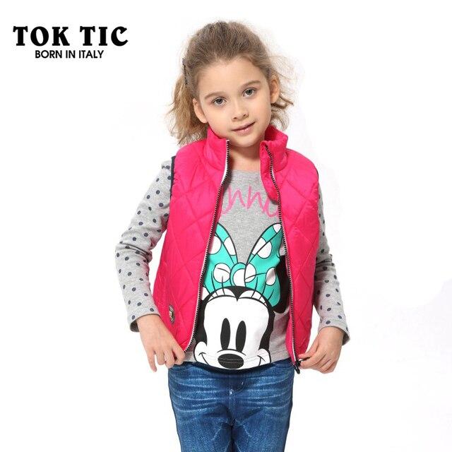 63181cb57e0e TOK TIC brand children girl vest autumn winter waistcoats kids girls rose  red casual parka sleeveless kids zipper vests clothes