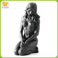 2017 New LX MOULD Creative Decoration Mold Nude Art Beauty Thinking Sculpture Candle Silicone Mold Home