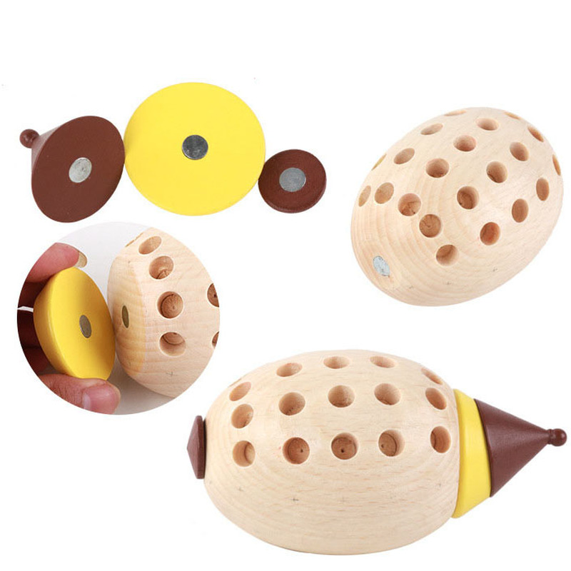 Wooden Cartoon Wooden Colorful Hedgehog Assemble Toys Puzzles Baby Fight Plug Build Early Education Games Fight Inserted funny in Blocks from Toys Hobbies