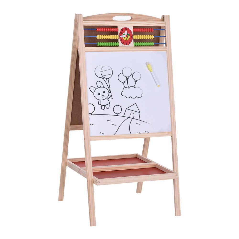Новый двусторонняя магнитная Письменные доски деревянный мольберт доске белый Чертёжные доски с ручкой маркером мелки Классная доска Игрушечные лошадки