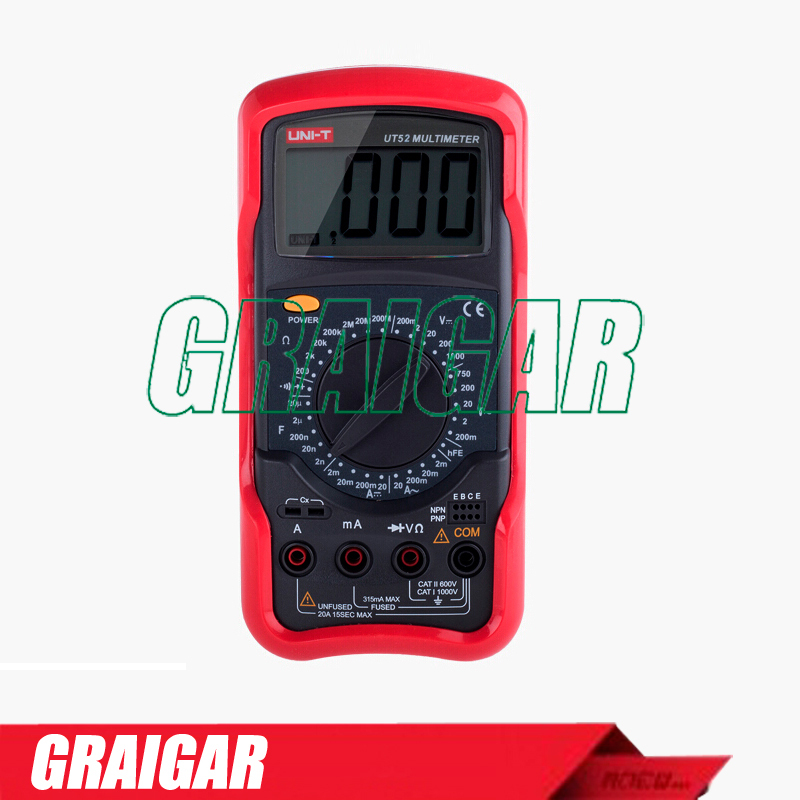 Standard Digital Multimeters UNI-T UT52 DC/AC Voltmeter Ammeter Ohmmeter Tester LCD Backlight Multimetro Ammeter Multitester