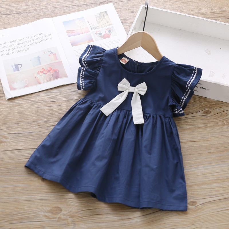 Kids Dresses Clothing Flying-Sleeve Baby-Girls Princess Brand-New Bow Summer Cute